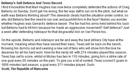 Slagging Off Bellamy And Tevez On F365