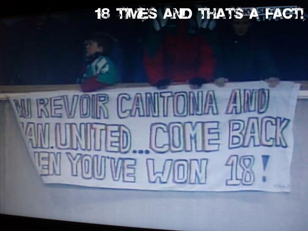 Liverpool banner Cantona 18 tshirt