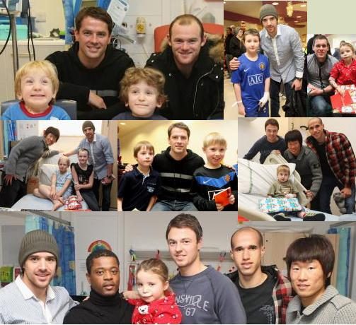 Manchester United players visit children's hospital