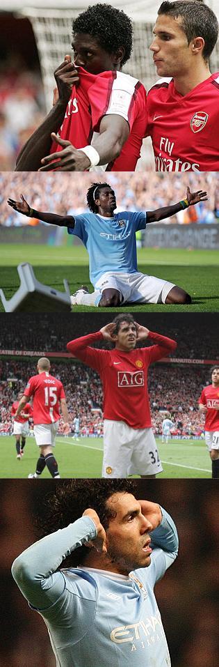 Adebayor and Tevez celebrate against former clubs