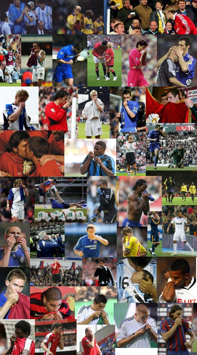 Football players kissing the badge