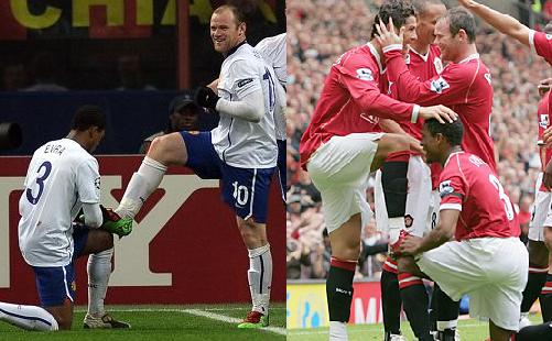 Evra polishes boots of Rooney and Ronaldo