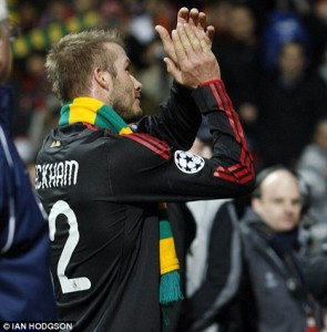 david beckham green and gold scarf