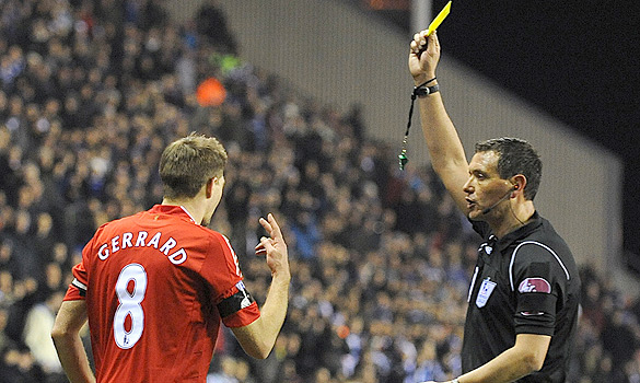 Gerrard sticks fingers up at referee