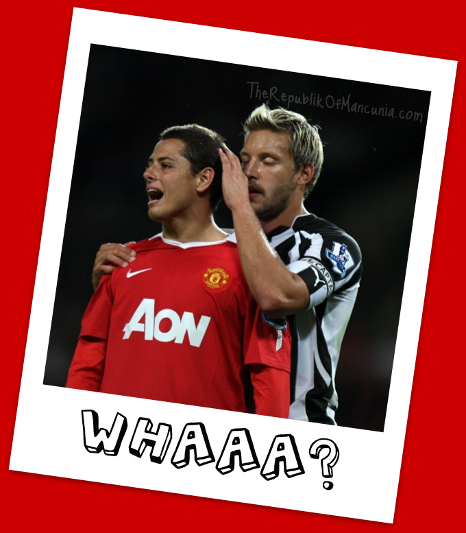 Caption Competion: Chicharito and Alan Smith