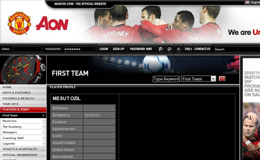 Don't Get Excited By Ozil's Profile On Official Site