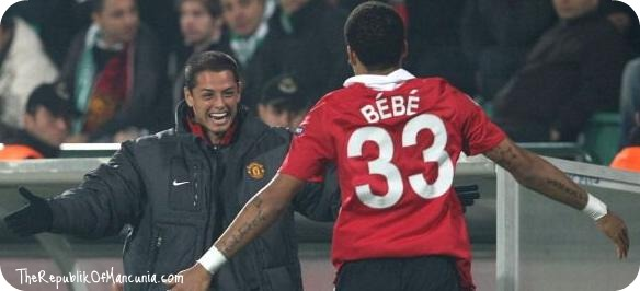 PICTURE: Bebe Celebrates Goal With Chicharito