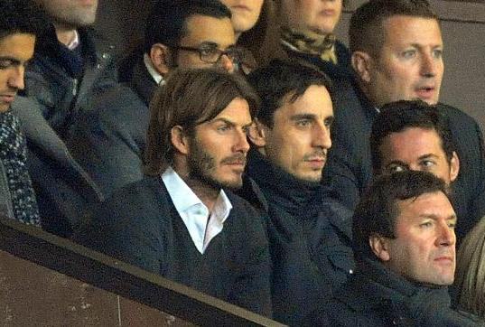 PICTURE: Becks In The Stands With GNev For Arsenal Win