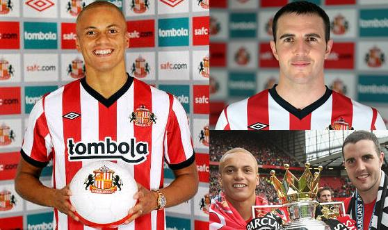 PICTURE: O'Shea and Brown in Sunderland Kits