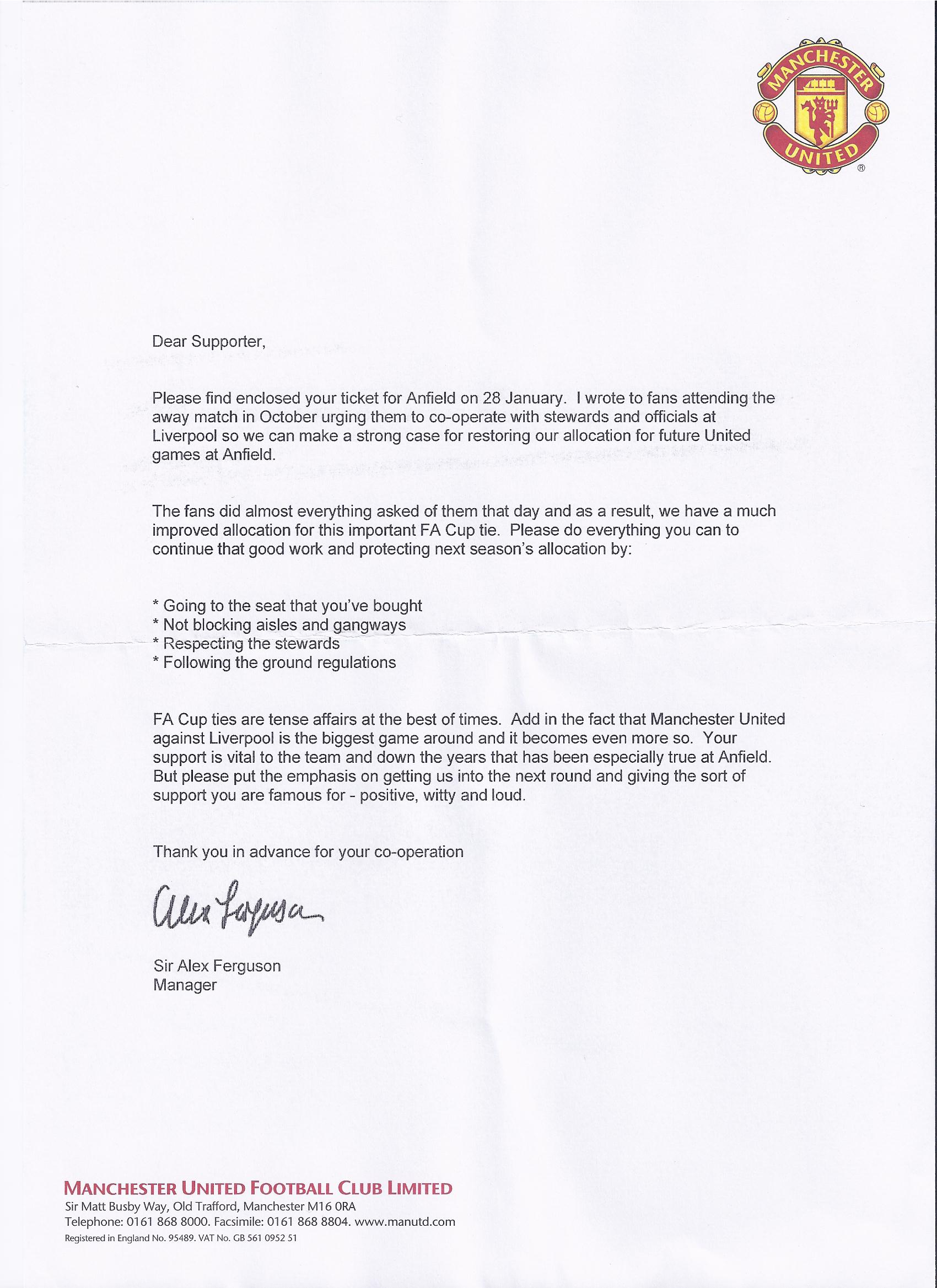 PICTURE: Ferguson's Letter To Fans Ahead Of Anfield
