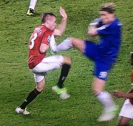 GIF: Should Fernando Torres have been sent off for his kung fu kick on Tom Cleverley (Chelsea v Man United)