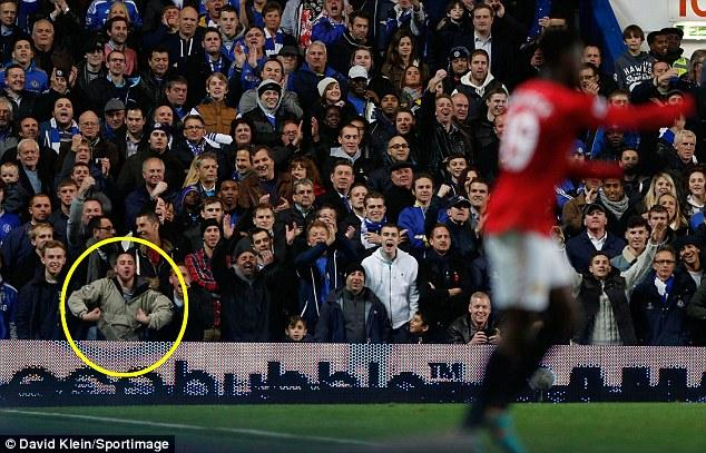 PICTURE: Chelsea Fan Monkey Gesture At Welbeck