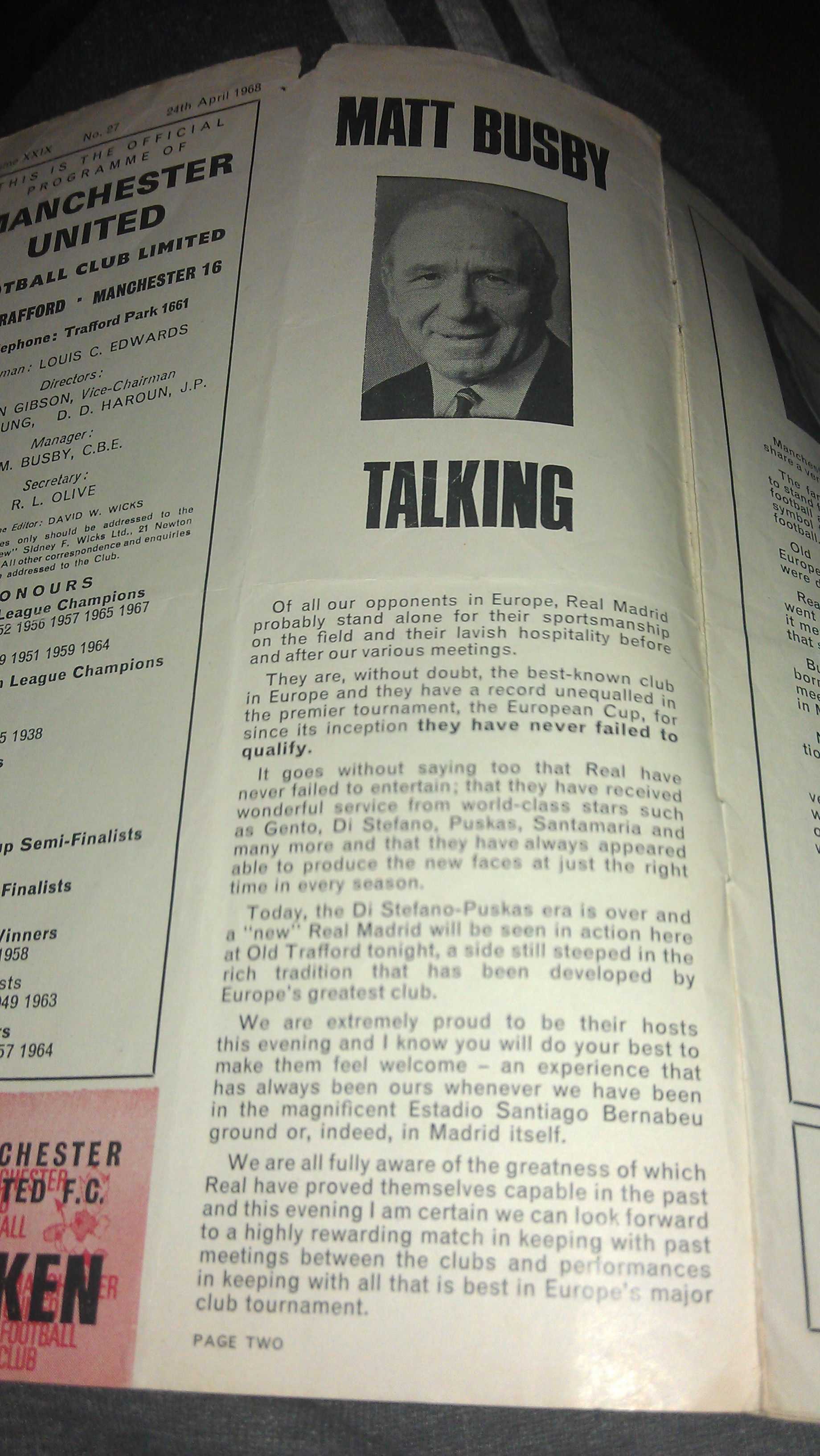 PICTURE: Sir Matt Busby's Programme Notes vs Real Madrid 1968