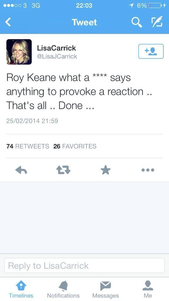 PICTURE: Carrick's wife has a pop at Keane on Twitter