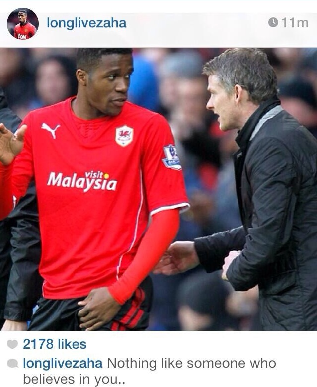 PICTURE: Zaha has a pop at Moyes on Instagram