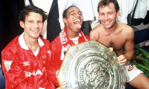 Ryan Giggs, Paul Ince and Bryan Robson after the 1993 Charity Shield against Arsenal