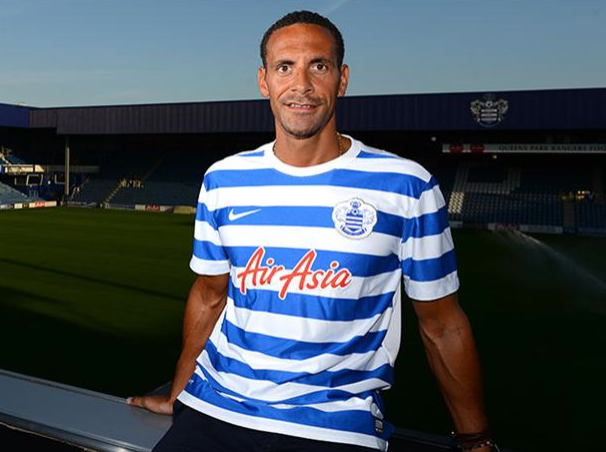 PICTURE: Rio Ferdinand in a QPR shirt