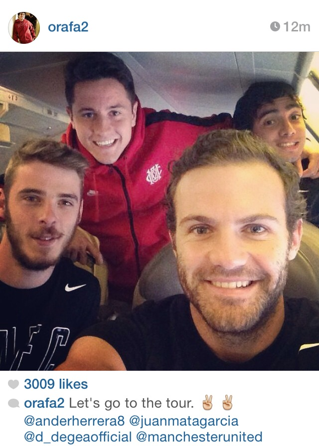 PICTURE: Mata, De Gea, Herrera and Rafael selfie on tour