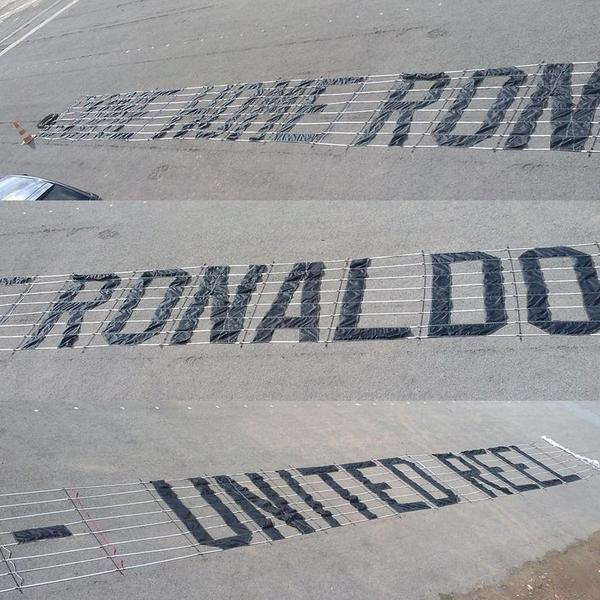 "PICTURE: ""Bring Ronaldo home"" banner for tomorrow"