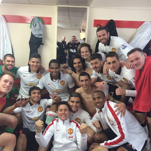 PICTURE: United celebrate in Anfield dressing room