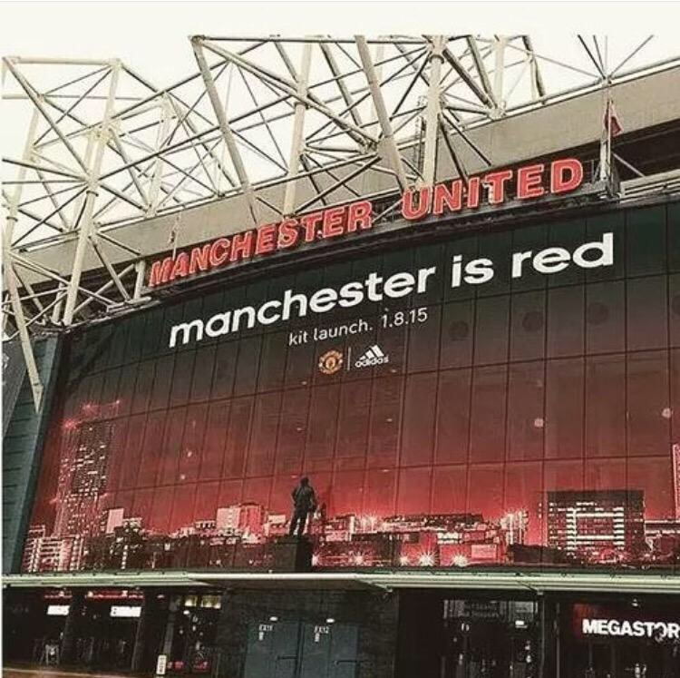 PICTURE: Old Trafford ready for kit launch – Manchester is Red