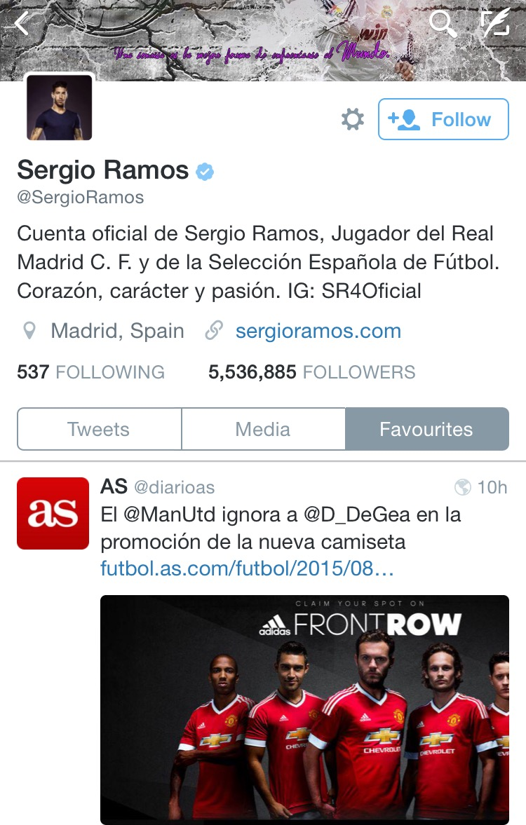 PICTURE: Ramos likes story about De Gea's dubious United future