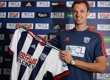 PICTURE: Jonny Evans with West Brom shirt