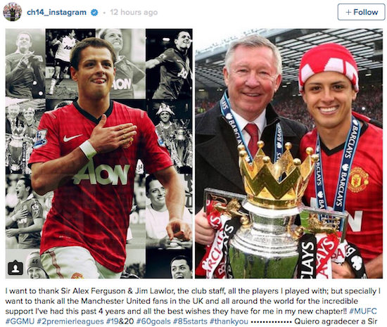 Chicharito hails United's 20 titles as he says goodbye to fans
