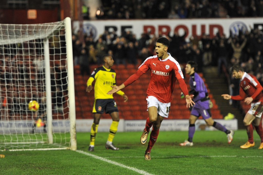 PICTURE: Ashley Fletcher scores on his Barnsley debut