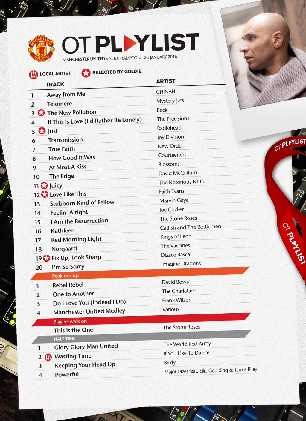 PICTURE: Goldie's playlist for Old Trafford today