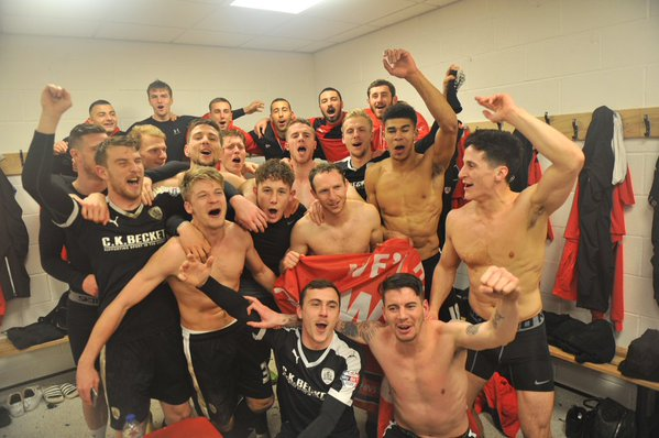 PICTURE: On loan youth celebrates getting to Wembley