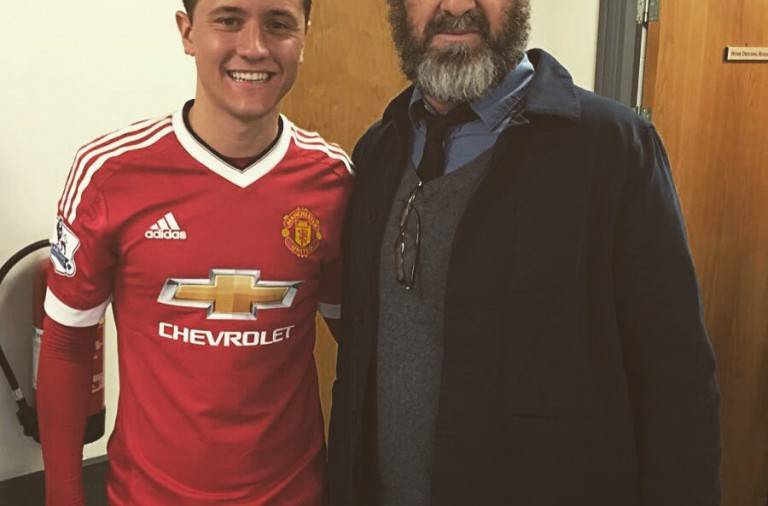 PICTURE: Herrera and Schweinsteiger pose with Cantona after the game