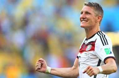 RIO DE JANEIRO, BRAZIL - JULY 04:  Bastian Schweinsteiger of Germany celebrates defeating France 1-0 in the 2014 FIFA World Cup Brazil Quarter Final match between France and Germany at Maracana on July 4, 2014 in Rio de Janeiro, Brazil.  (Photo by Martin Rose/Getty Images)
