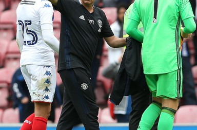 WIGAN, ENGLAND - JULY 16:  Manager Jose Mourinho of Manchester United waves to the Manchester United fans after the pre-season friendly match between Wigan Athletic and Manchester United at JJB Stadium on July 16, 2016 in Wigan, England.  (Photo by Matthew Peters/Man Utd via Getty Images)