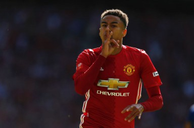 Manchester United's English midfielder Jesse Lingard celebrates scoring the opening goal during the FA Community Shield football match between Manchester United and Leicester City at Wembley Stadium in London on August 7, 2016.  / AFP / Ian Kington / NOT FOR MARKETING OR ADVERTISING USE / RESTRICTED TO EDITORIAL USE        (Photo credit should read IAN KINGTON/AFP/Getty Images)