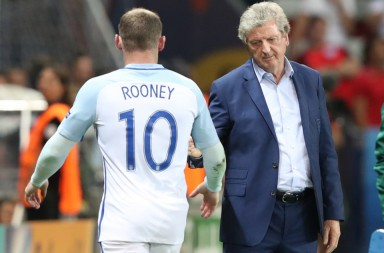 England coach Roy Hodgson salutes Wayne Rooney as he leaves the pitch to be replaced during the Euro 2016 round of 16 soccer match between England and Iceland, at the Allianz Riviera stadium in Nice, France, Monday, June 27, 2016. (AP Photo/Thanassis Stavrakis)