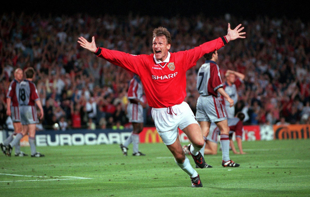 Teddy Sheringham's involvement in two late goals against Bayern Munich allowed Man Utd to win the first and only English treble to date. Source: ManUtd.com