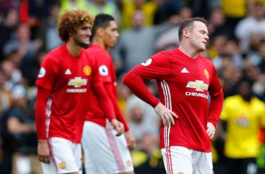 "Britain Football Soccer - Watford v Manchester United - Premier League - Vicarage Road - 18/9/16 Manchester United's Wayne Rooney looks dejected after Watford's Troy Deeney scores their third goal Reuters / Eddie Keogh Livepic EDITORIAL USE ONLY. No use with unauthorized audio, video, data, fixture lists, club/league logos or ""live"" services. Online in-match use limited to 45 images, no video emulation. No use in betting, games or single club/league/player publications. Please contact your account representative for further details."