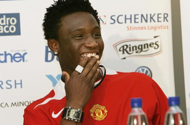OSLO, NORWAY:  Nigerian soccer player John Obi Mikel smiles after signing with Manchester United in Oslo, 29 April 2005. Mikel, who signed for Manchester United, has claimed he was pressurised into agreeing a deal with Manchester United and did not sign a contract of his own free will. Mikel has been rumoured to be in talks with Chelsea.    NORWAY OUT     AFP PHOTO  (Photo credit should read /AFP/Getty Images)
