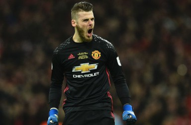 Manchester United's Spanish goalkeeper David de Gea celebrates at the final whistle in the English League Cup final football match between Manchester United and Southampton at Wembley stadium in north London on February 26, 2017. Manchester United won the game 3-2. / AFP / Glyn KIRK / RESTRICTED TO EDITORIAL USE. No use with unauthorized audio, video, data, fixture lists, club/league logos or 'live' services. Online in-match use limited to 75 images, no video emulation. No use in betting, games or single club/league/player publications.  /         (Photo credit should read GLYN KIRK/AFP/Getty Images)