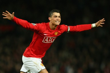 MANCHESTER, UNITED KINGDOM - MARCH 19:  Cristiano Ronaldo of Manchester United celebrates as he scores their second goal during the Barclays Premier League match between Manchester United and Bolton Wanderers at Old Trafford on March 19, 2008 in Manchester, England.  (Photo by Alex Livesey/Getty Images)