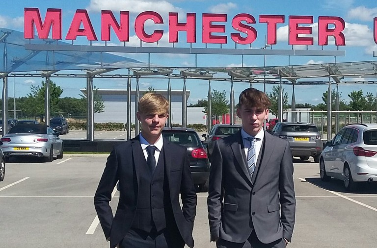 James Garner and Brandon Williams arrive at Man Utd's training ground to sign scholarship deals at the club.