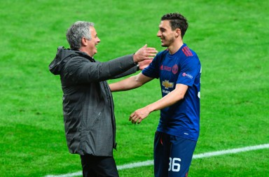 Manchester United's Portuguese manager Jose Mourinho (C) celebrates with Manchester United's Italian defender Matteo Darmian after the UEFA Europa League final football match Ajax Amsterdam v Manchester United on May 24, 2017 at the Friends Arena in Solna outside Stockholm. / AFP PHOTO / JANEK SKARZYNSKI        (Photo credit should read JANEK SKARZYNSKI/AFP/Getty Images)