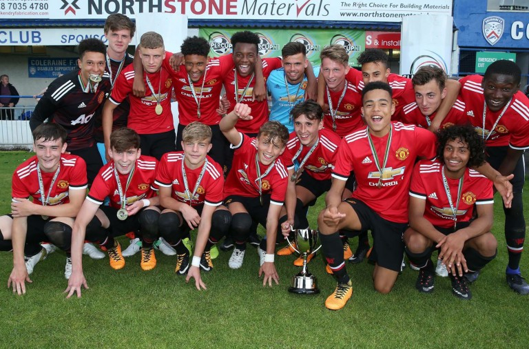 Man Utd U18s after beating Northern Ireland in a SuperCupNI Challenge Match