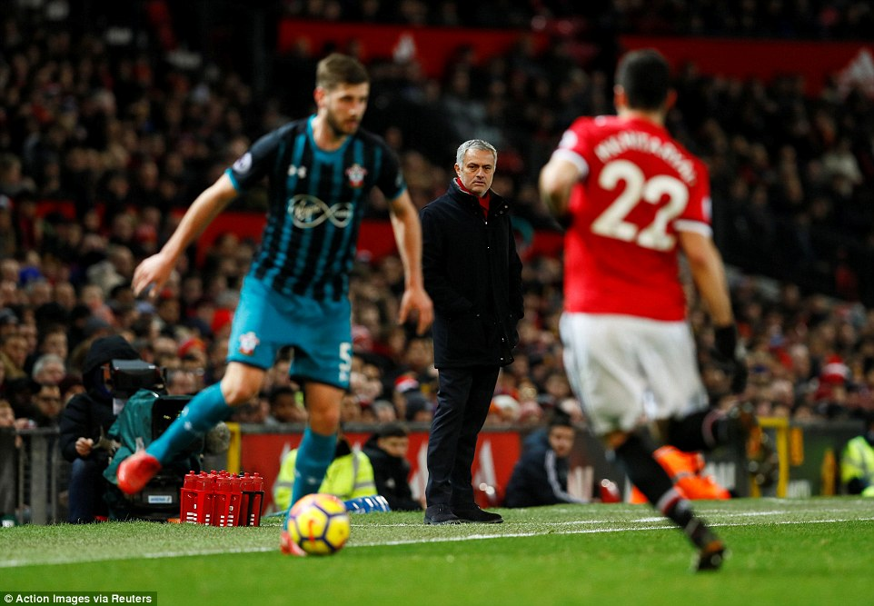 Jose Mourinho watches on during the second period of the tight encounter at Old Trafford on the weekend [DailyMai]