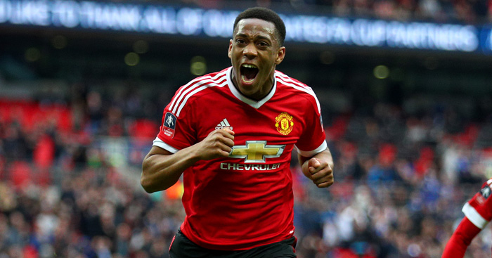 LONDON, ENGLAND - APRIL 23: Anthony Martial of Manchester United celebrates scoring his sides second goal during The Emirates FA Cup semi final match between Everton and Manchester United at Wembley Stadium on April 23, 2016 in London, England.  (Photo by Paul Gilham/Getty Images)