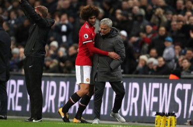 LONDON, ENGLAND - JANUARY 31:  Marouane Fellaini of Manchester United is substituted by Manchester United Head Coach / Manager Jose Mourinho after coming on as a substitute during the Premier League match between Tottenham Hotspur and Manchester United at Wembley Stadium on January 31, 2018 in London, England.  (Photo by Matthew Ashton - AMA/Getty Images)