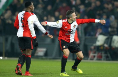 ROTTERDAM, NETHERLANDS - FEBRUARY 8: Robin van Persie of Feyenoord celebrates 3-0  during the Dutch Eredivisie  match between Feyenoord v FC Groningen at the Stadium Feijenoord on February 8, 2018 in Rotterdam Netherlands (Photo by Erwin Spek/Soccrates/Getty Images)