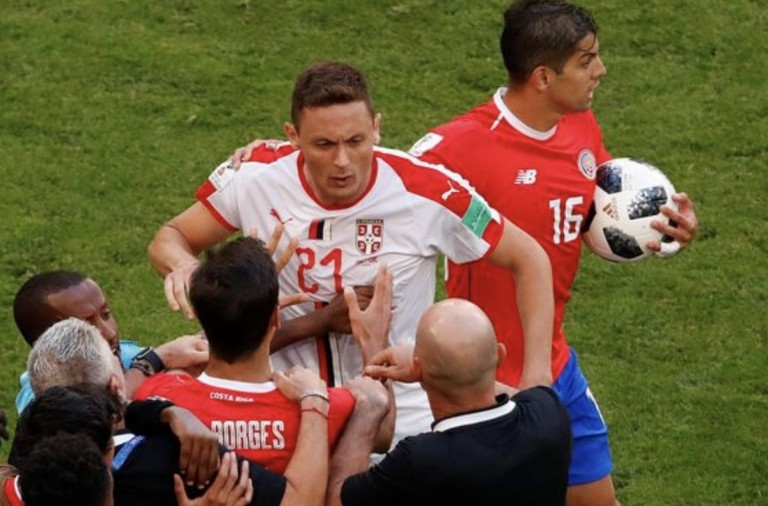 VIDEO: Matic clashes with Costa Rica bench