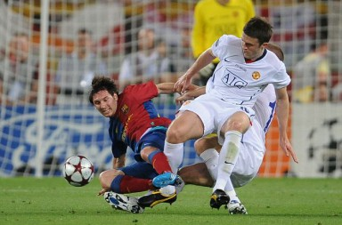 Manchester United V Barcelona Picture; Graham Chadwick Lional Messi and Michael Carrick